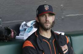 San Francisco Giants starting pitcher Madison Bumgarner before a baseball game against the St. Louis Cardinals in San Francisco, Saturday, July 6, 2019. (AP Photo/Jeff Chiu)