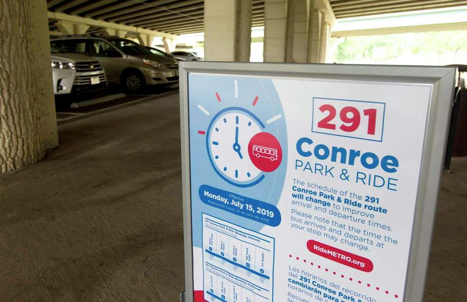 A sign for Metro stop 291 is seen at a station stop under I-45 near FM 2854, Tuesday, July 16, 2019, in Conroe. The Conroe Commuter Connection bus transports residents from Conroe to various locations around downtown Houston. Photo: Jason Fochtman, Houston Chronicle / Staff Photographer / Houston Chronicle