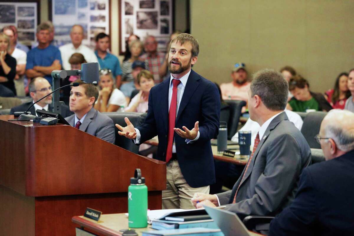 GBRA chief engineer Charlie Hickman gives an analysis of the physical limitations of the dams at the Guadalupe-Blanco River Authority board meeting July 17, 2019.