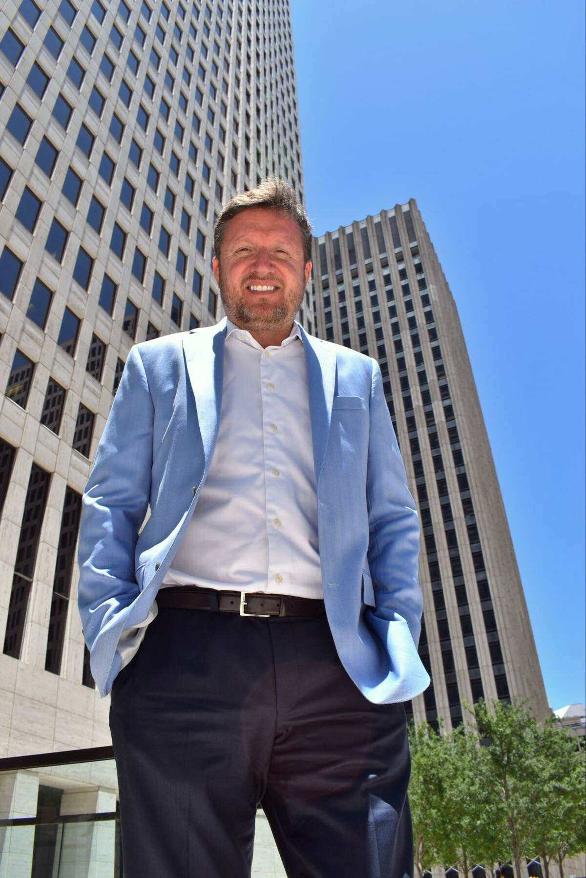 Darren Klauser, CEO of Ontellus, stands outside One Shell Plaza, 910 Louisiana.