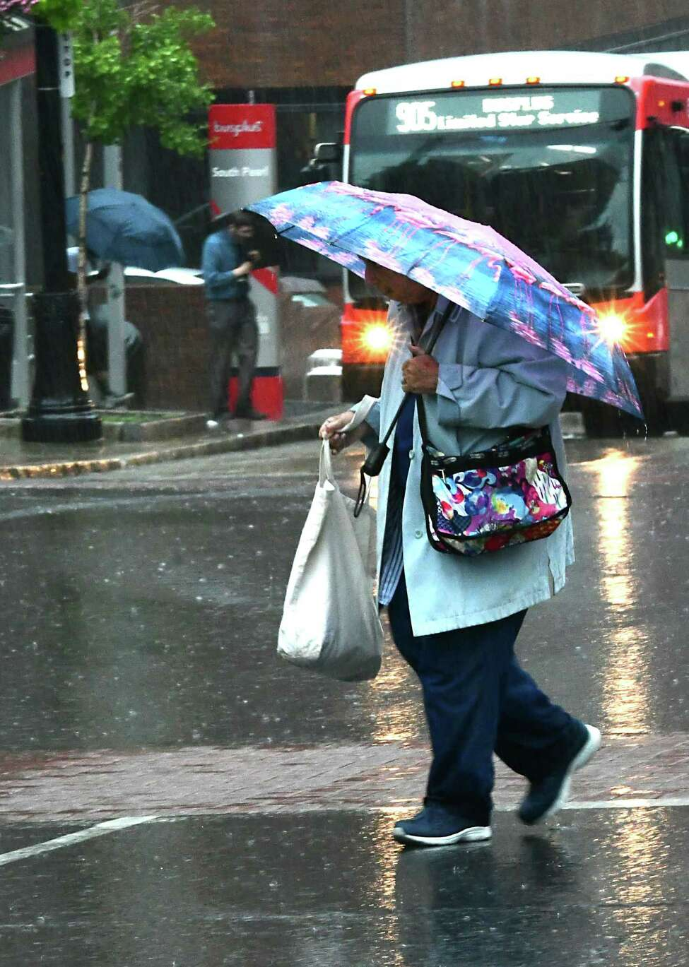 A woman uses an umbrella as she makes her way across State St. during a rain downpour on Wednesday, July 17, 2019 in Albany, N.Y. (Lori Van Buren/Times Union)