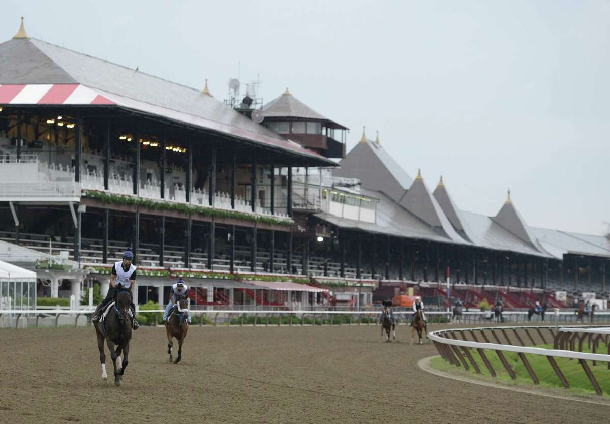 A few trainers took advantage of the opening of the main track to training at the Saratoga Race Course in Saratoga Springs, N.Y. June 25, 2012. This is one of the earliest openings of the main racing surface to training in recent memory. (Skip Dickstein/Times Union).