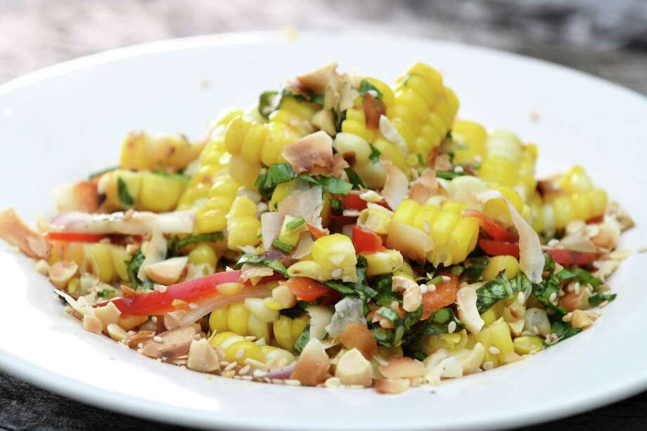 Thai-style corn salad with peanuts, coconut and chile on Thursday, July 11, 2019, in Delmar, N.Y.  (Will Waldron/Times Union) Photo: Will Waldron / 20047340A