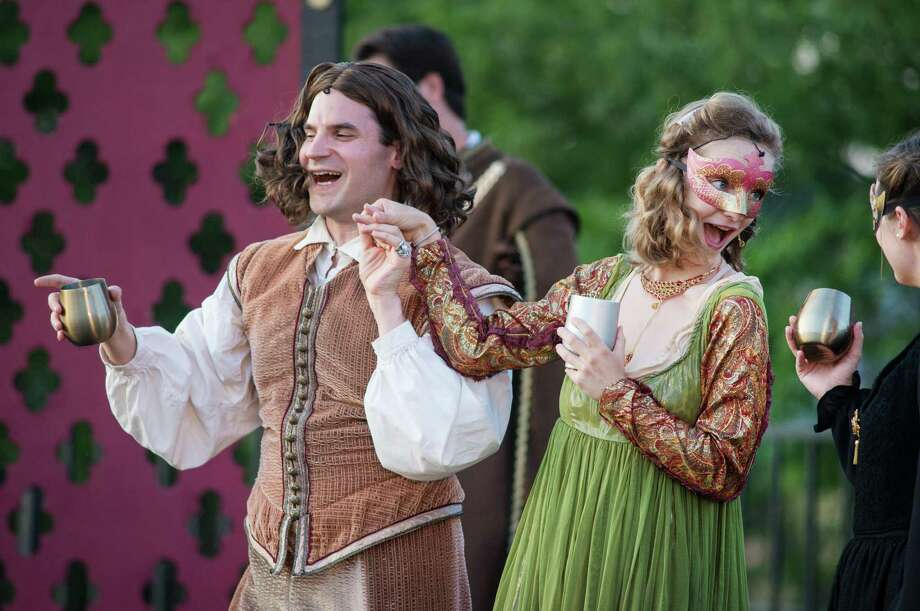 Matthew Mancuso (Lord Chamberlain), Kate McMorran (Anne Bullen) in the Valley Shakespeare production of King Henry VIII at the Veterans Memorial Park in Shelton, Connecticut on Sunday, July 14, 2019 Photo: Bryan Haeffele