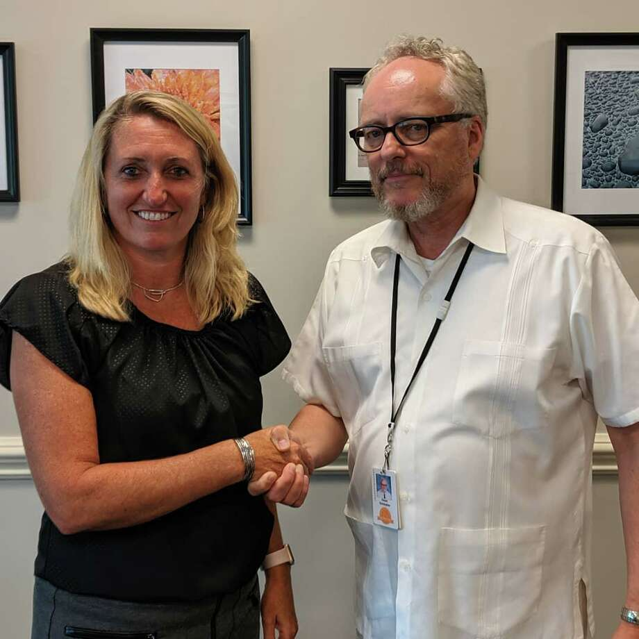 Kathy Riddle with school Superintendent Dr. Chris Clouet. Riddle has been named interim principal at Shelton High School. Photo: Contributed Photo / Connecticut Post
