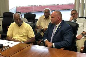 Karl Jacobson, Herb Sharp and Renee Dominguez were appointed as assistant chiefs for the New Haven Police Department Tuesday evening. Here, Jacobson speaks to the Board of Police Commissioners.