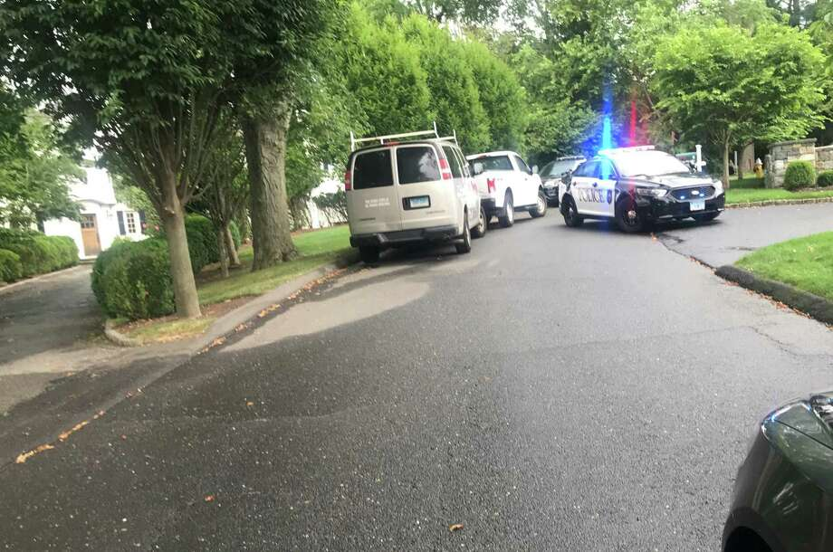 Police have temporarily closed off Minute Man Hill today because of a reported propane gas leak. Taken July 17, 2019 in Westport, CT. Photo: Lynandro Simmons/Hearst Connecticut Media