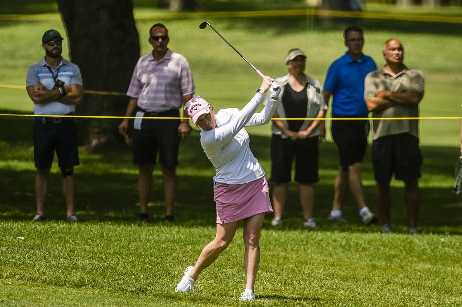 Morgan Pressel of Florida plays in the first round of the Dow Great Lakes Bay Invitational on Wednesday, July 17, 2019 at Midland Country Club. (Katy Kildee/kkildee@mdn.net) Photo: (Katy Kildee/kkildee@mdn.net)