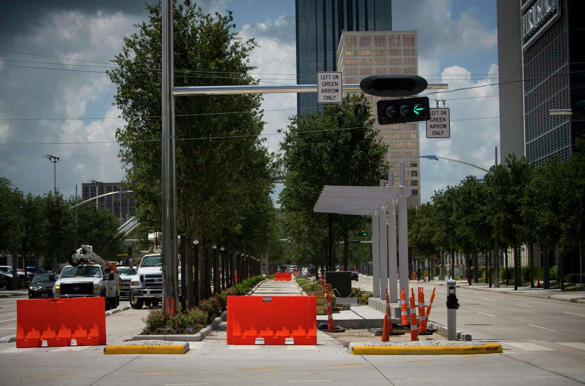 Work continues on new dedicated bus lanes along Post Oak Boulevard on July 17. Uptown and Metropolitan Transit Authority officials are finalizing names for the stops along the route.