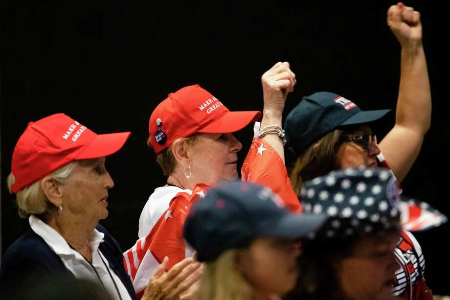 Attendees cheer during a Women for Trump campaign rally for the president in King of Prussia, Pa., on Tuesday, the same day that the House of Representatives passed a resolution condemning his statements concerning four congresswomen. Photo: Matt Rourke /Associated Press / Copyright 2019 The Associated Press. All rights reserved.