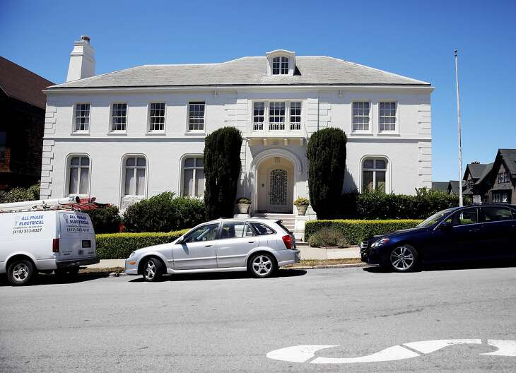 Exterior of house located at 3400 Washington St. in San Francisco, Calif., on Tuesday, July 16, 2019. The 8,700-square-foot house is worth $15 million. The U.S. government has been planning to mothball it because it is too expensive to maintain, but the couple who lives there has refused to leave.