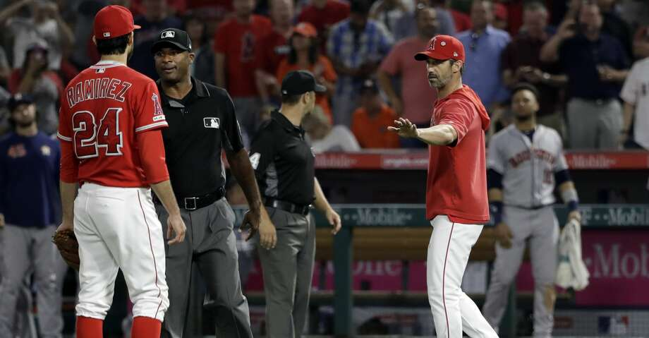PHOTOS: Astros game-by-game Los Angeles Angels manager Brad Ausmus right, gestures to pitcher Noe Ramirez (24) after Ramirez hit Houston Astros' Jake Marisnick with a pitch during the sixth inning of a baseball game Tuesday, July 16, 2019, in Anaheim, Calif. (AP Photo/Marcio Jose Sanchez) Browse through the photos to see how the Astros have fared in each game this season. Photo: Marcio Jose Sanchez/Associated Press