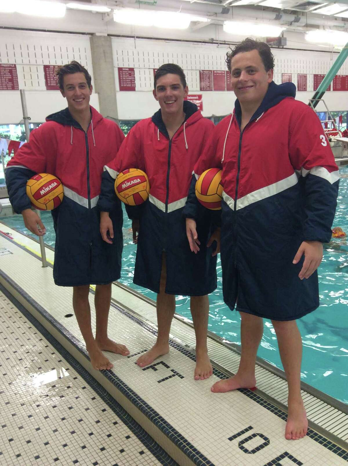 From left to right, Niki de la Sierra, Kyle Laufenberg and Tegan D'Agostino are senior captains on the Greenwich High School water polo team. September 4, 2018