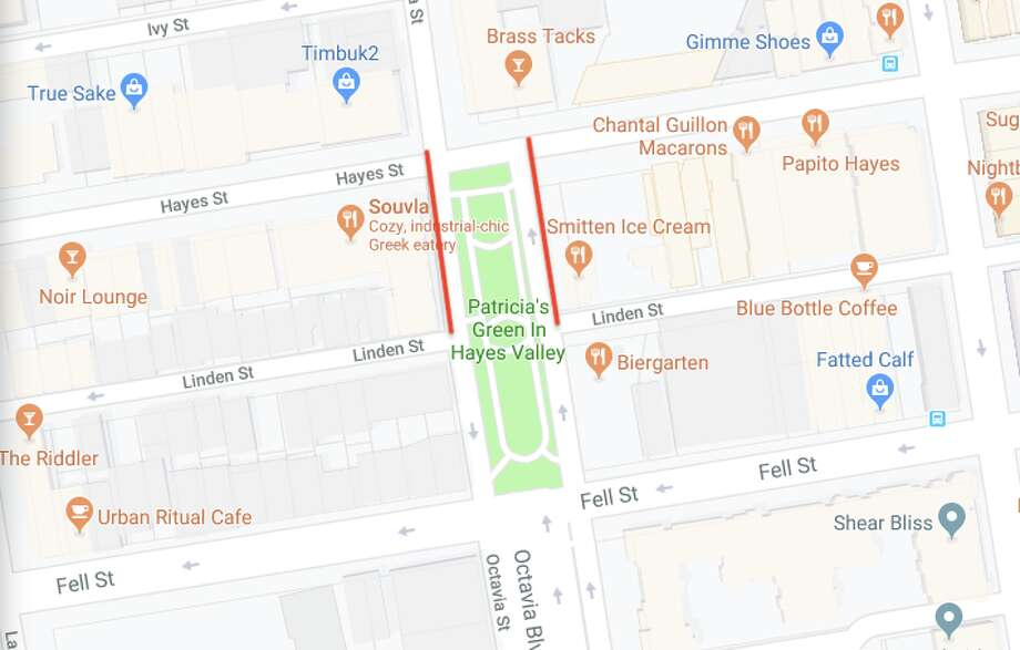 On Tuesday, SFMTA voted unanimously to close a block of Octavia, between Hayes and Linden. The block will become a car-free zone, expanding the area around Patricia's Green for use by pedestrians and bicyclists. Red marks the lanes that will be permanently closed. Photo: Courtesy Of Google Maps