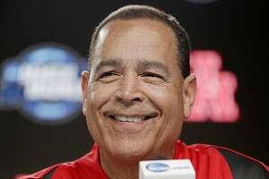 Houston Cougars head coach Kelvin Sampson answers questions from the media during a press conference on Thursday, March 29. 2019 at the Sprint Center in Kansas City, MO. Houston will take on Kentucky Wildcats on Friday in the NCAA tournament.