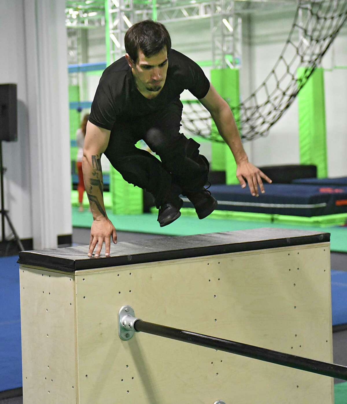 Parkour athlete coach Matthew Maloney practices his parkour moves in a newly opened Ninja Lab at Crossgates Commons on Wednesday, June 19, 2019 in Guilderland, N.Y. (Lori Van Buren/Times Union)