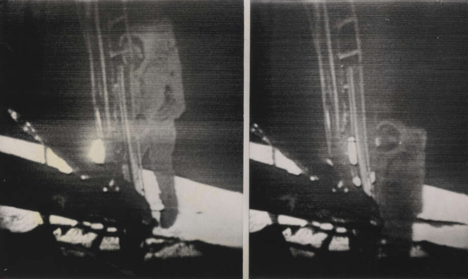Apollo 11 Astronaut Neil Armstrong is shown making history as he climbs down the ladder from the lunar module (left photo) and a few seconds later becomes the first human to set foot on the moon. (Associated Press)