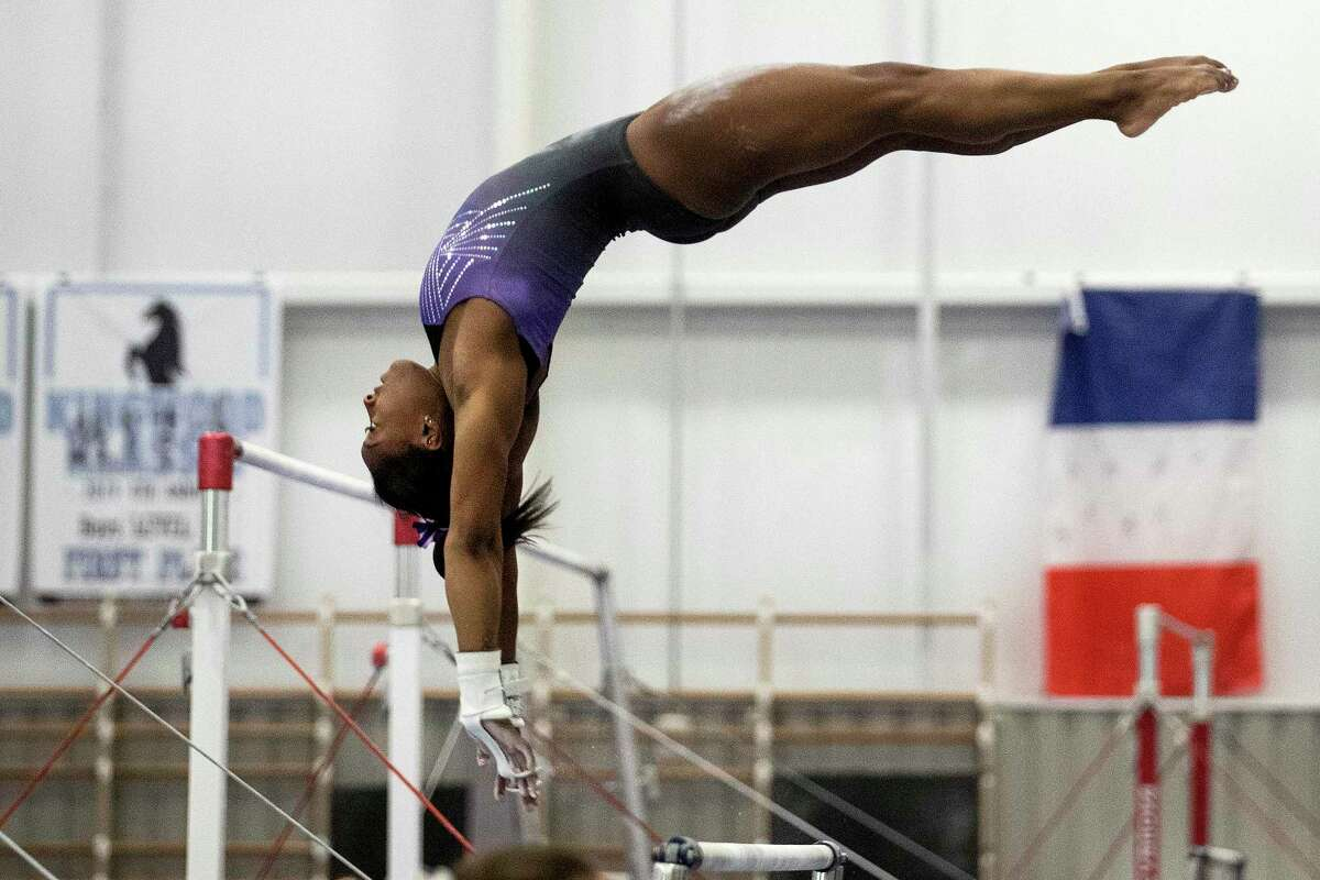 Olympic champion Simone Biles works out at World Champions Centre as she prepares for upcoming competitions on Wednesday, July 17, 2019, in Spring.
