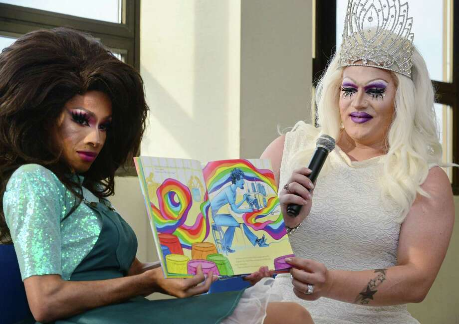 Over a hundred people attend the first Drag Queen Story Time featuring Robin Fierce and Anita Manager Wednesday at the Norwalk Public Library Main Branch on Belden Avenue in Norwalk. Troupe429 partnered with the library to sponsor the event with snacks provided by Forever Sweet Bakery. Photo: Erik Trautmann / Hearst Connecticut Media / Norwalk Hour