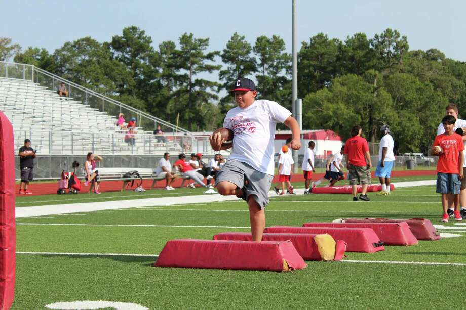 Cleveland High School held a youth football camp at Indian Stadium. Photo: Marcus Gutierrez Staff Photo