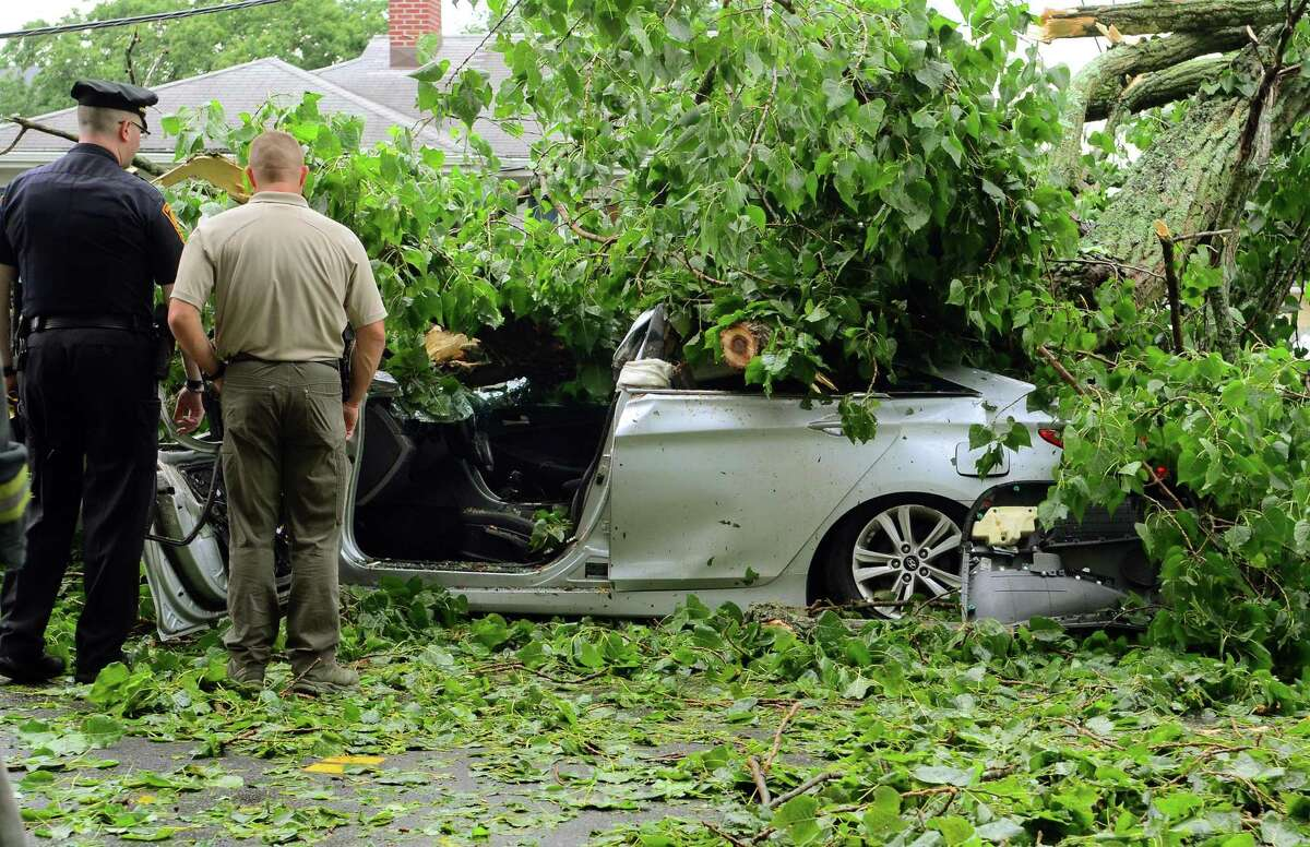 A car is covered by a tree which fell on it along Park Ave Bridgeport, Conn., on Wednesday July 17, 2019. Due to live wires that fell, Bridgeport and Fairfield firefighters had to wait as long as an hour before they could remove the victim.