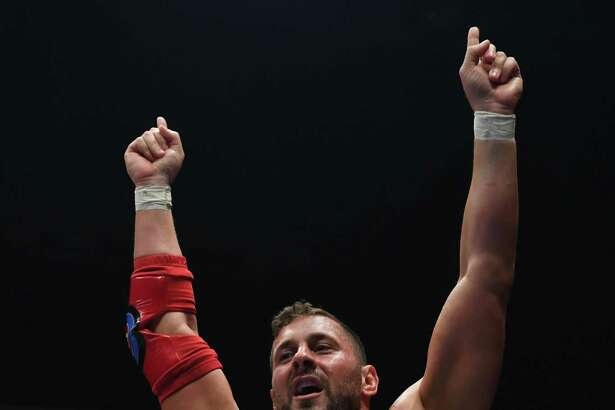Colt Cabana enters the ring during the New Japan Cup of NJPW at Aore Nagaoka on March 24 in Nagaoka, Japan.