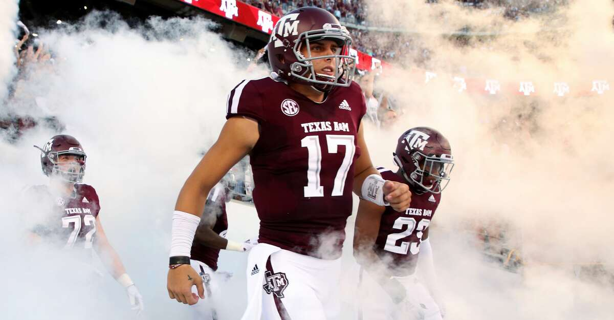 Texas A&M Aggies quarterback Nick Starkel (17) exits the tunnel onto the field for the start of the NCAA game against the Northwestern State Demons at Kyle Field Thursday, Aug. 30, 2018, in College Station, Texas.