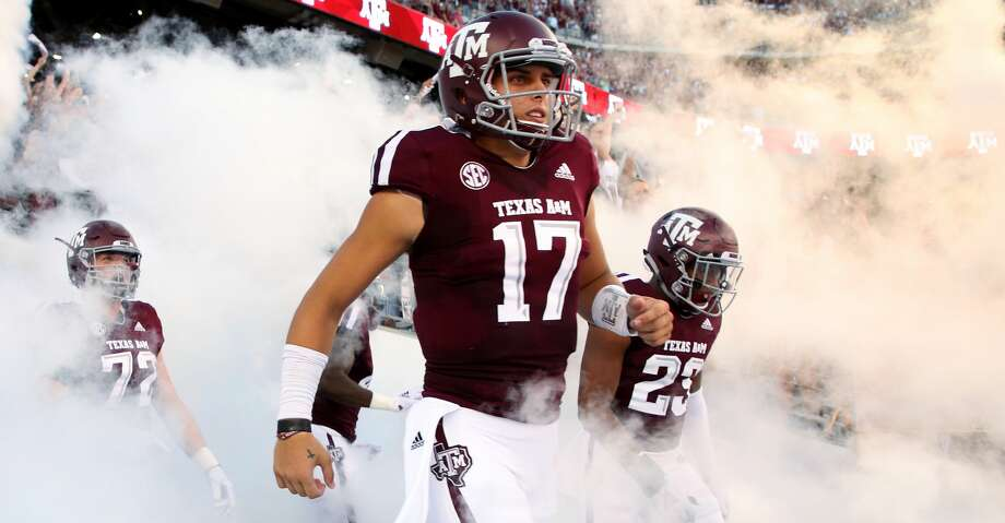 Texas A&M Aggies quarterback Nick Starkel (17) exits the tunnel onto the field for the start of the NCAA game against the Northwestern State Demons at Kyle Field Thursday, Aug. 30, 2018, in College Station, Texas. Photo: Godofredo A. Vasquez/Staff Photographer