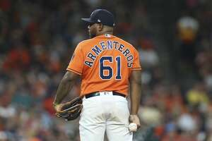 Houston Astros relief pitcher Rogelio Armenteros (61) pitches during the top seventh inning of the MLB game against the Toronto Blue Jays at Minute Maid Park on Friday, June 14, 2019, in Houston.