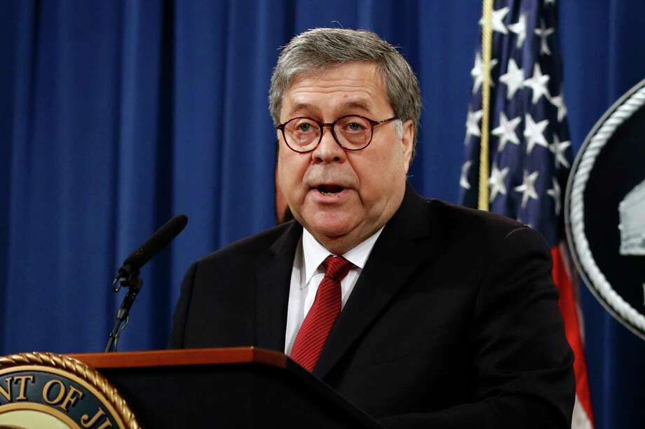 FILE - In this April 18, 2019, file photo, Attorney General William Barr speaks about the release of a redacted version of special counsel Robert Mueller's report during a news conference at the Department of Justice in Washington. Barr is taking aim judges who issue rulings blocking nationwide policies. Barr is speaking May 21 to the American Law Institute. He says judges who issue these so-called nationwide injunctions are hampering President Donald Trumpa€™s agenda. (AP Photo/Patrick Semansky, File) Photo: Patrick Semansky / Copyright 2019 The Associated Press. All rights reserved.