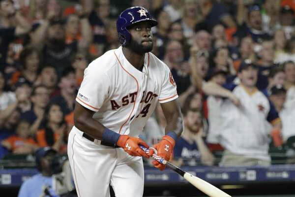Houston Astros' Yordan Alvarez bats against the Los Angeles Angels during the seventh inning of a baseball game Saturday, July 6, 2019, in Houston. (AP Photo/David J. Phillip)