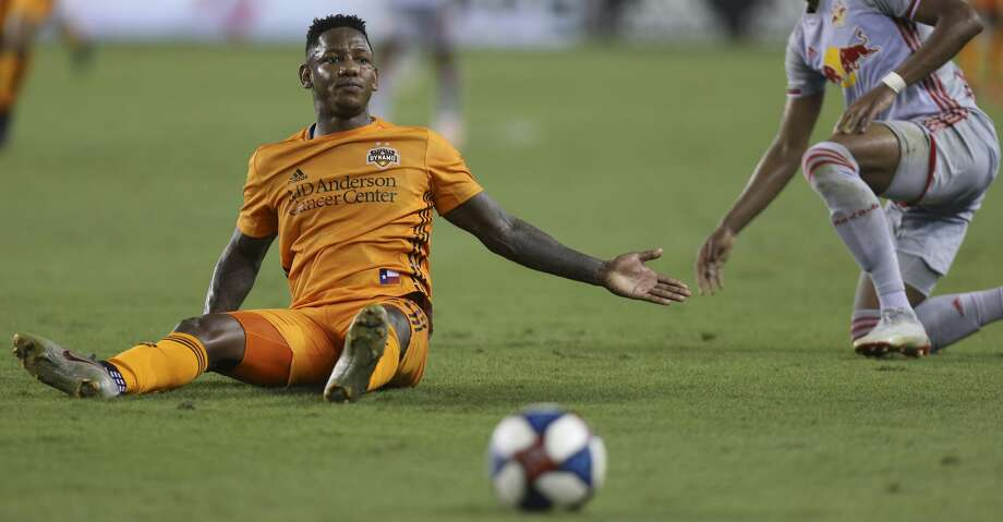 Houston Dynamo forward Romell Quioto (31) reacts to New York Red Bulls defender Michael Murillo (62) fouls him from behind during the first half of the MLS game at BBVA Stadium on Wednesday, July 3, 2019, in Houston. Murillo got a yellow card for this play. Photo: Yi-Chin Lee/Staff Photographer