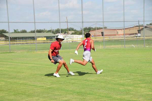 Former Texas receiver Jaxon Shipley held a workout with some of the Alexander skill position players Wednesday at the Bulldogs' practice field.