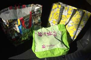 Some reusable bags for shopping in place of plastic bags, which have recently been banned in Darien.