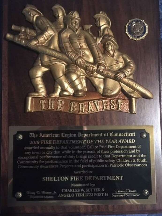 The Shelton Fire Department was awarded the state's top honor by the American Legion Department of Connecticut. Above is the plaque. Photo: Contributed Photo / / Connecticut Post