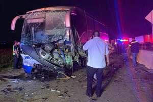 Rosenberg police investigate a crash involving a charter bus along Interstate 69 at Texas Highway 36 on Thursday, July 18, 2019.