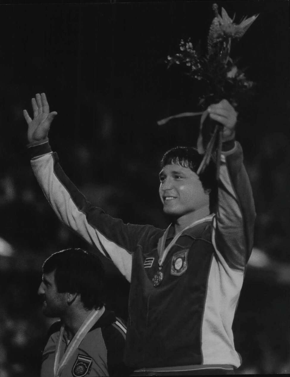 Wrestler Jeff Blatnick wins olympic gold in Los Angeles, California. 1984 (Times Union Archive)