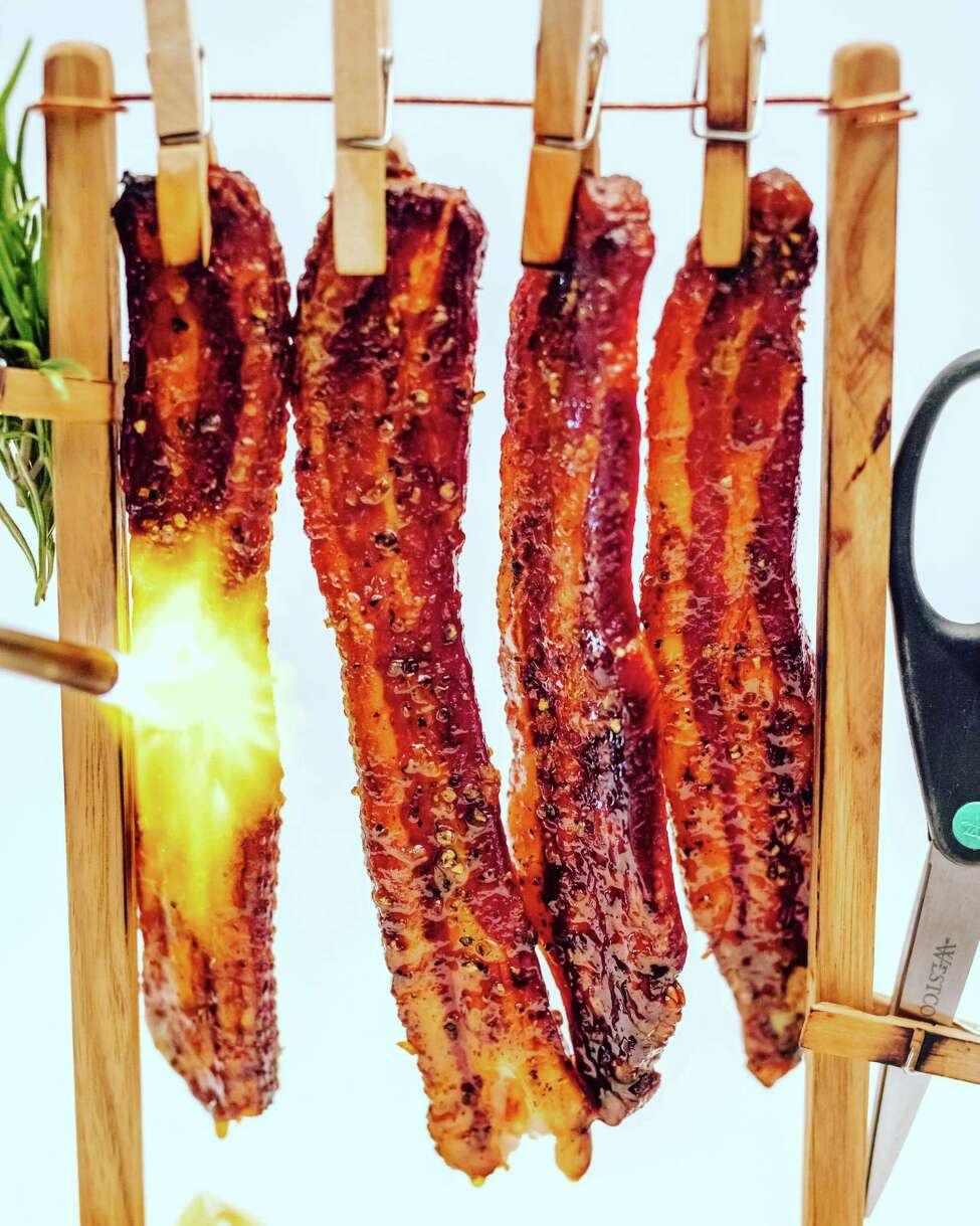 "Candied, maple-glazed ""clothesline bacon"" at Salt & Char in Saratoga Springs. (Photo courtesy Salt & Char.)"