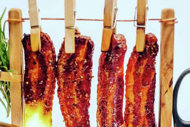 "Candied, maple-glazed ""clothesline bacon"" at Salt & Char in Saratoga Springs. (Photo courtesy Salt & Char.)"