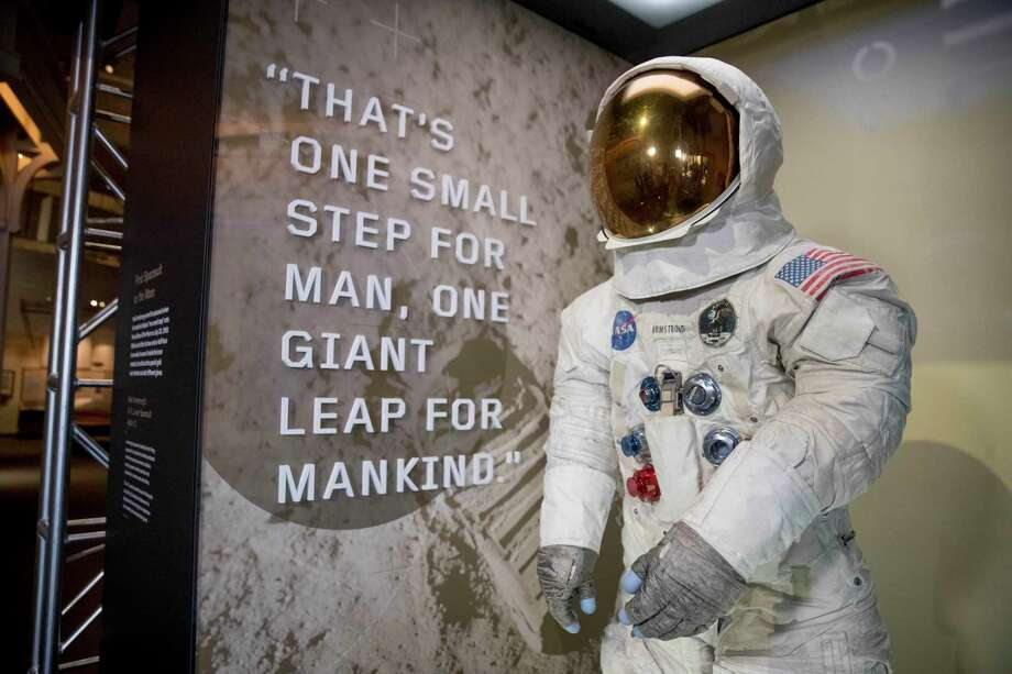 Neil Armstrong's Apollo 11 spacesuit is unveiled at the Smithsonian's National Air and Space Museum on the National Mall in Washington, Tuesday, July 16, 2019. (AP Photo/Andrew Harnik) Photo: Andrew Harnik / Associated Press / Copyright 2019 The Associated Press. All rights reserved