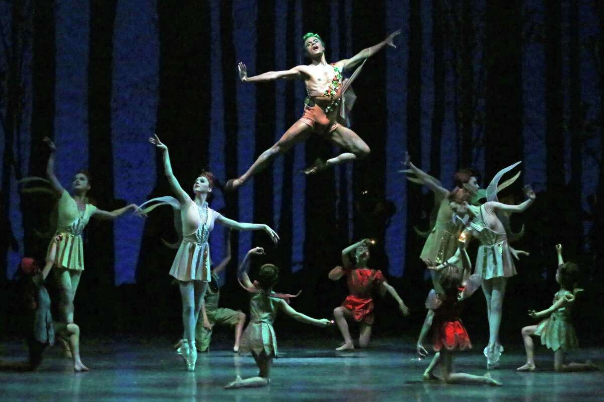 Taylor Stanley, in the air, of the New York City Ballet in George Balanchine's