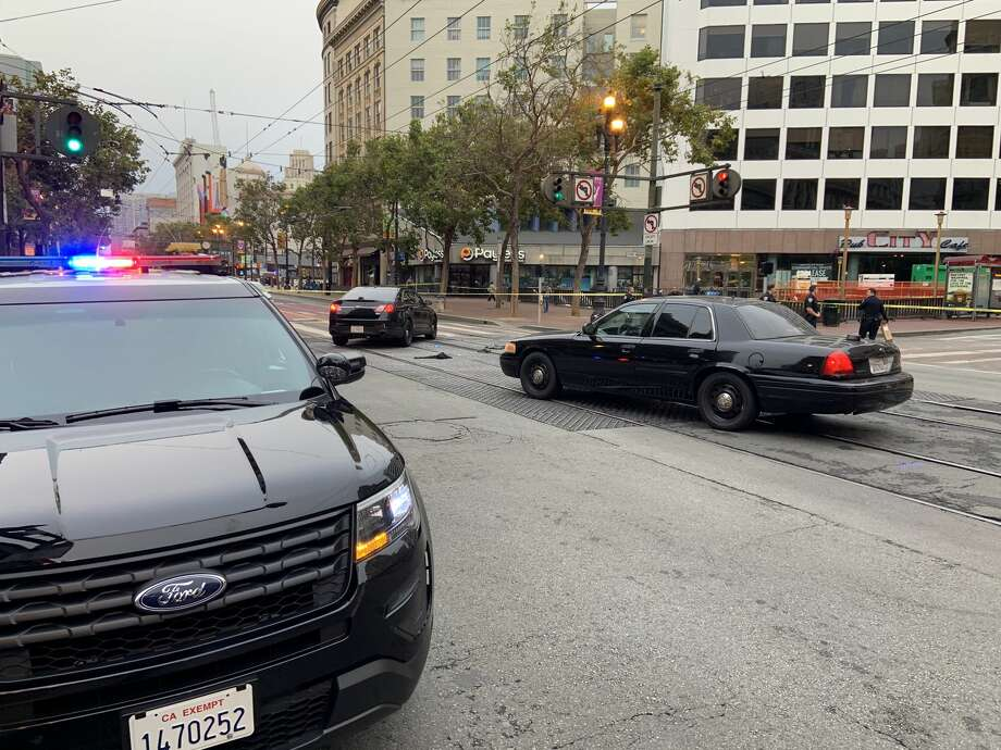 A police investigation blocked Market Street at 5th Street Thursday morning. Photo: Amy Graff