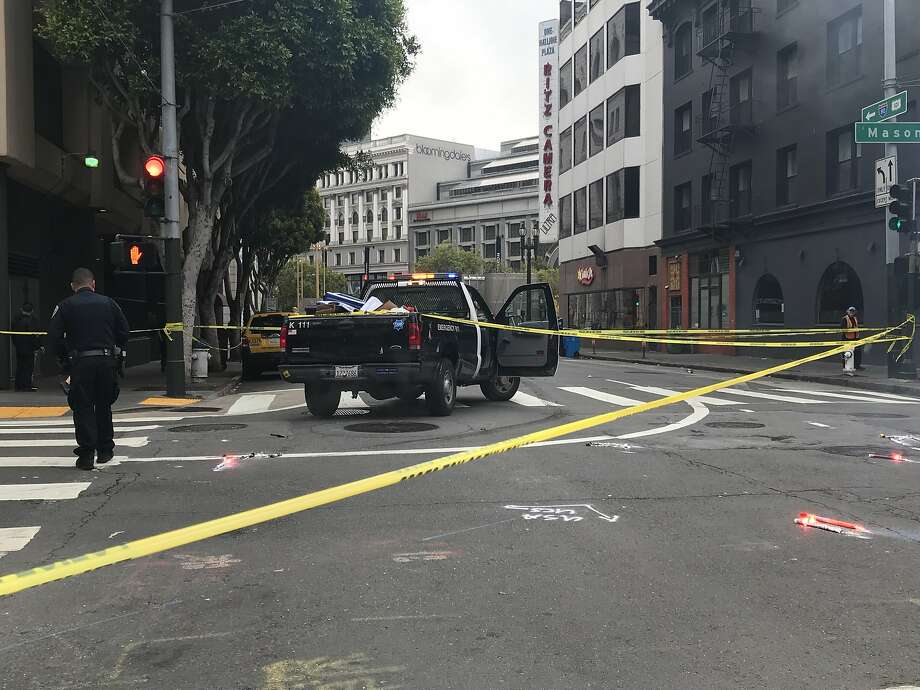 A hit-and-run involving a big rig Thursday morning near San Francisco's Powell Street Station left a pedestrian with life-threatening injuries, officials said. Photo: Ashley McBride / The Chronicle