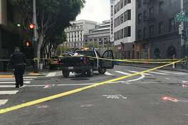 A hit-and-run involving a big rig Thursday morning near San Francisco's Powell Street Station left a pedestrian with life-threatening injuries, officials said.