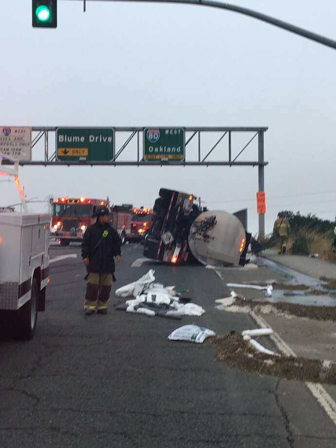 Overturned big-rig disrupts traffic in Pinole - SFGate