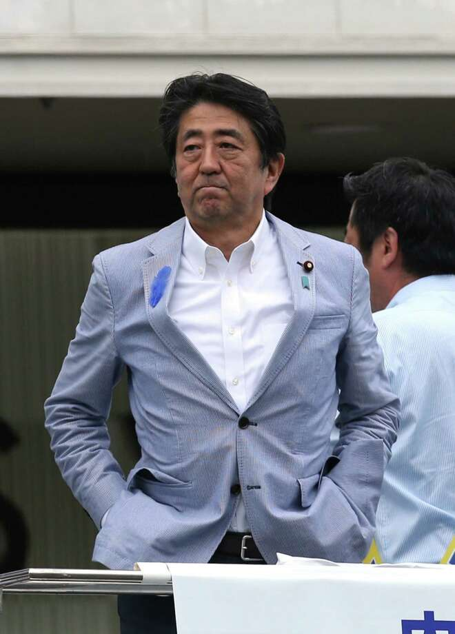 Shinzo Abe, Japan's prime minister and president of the Liberal Democratic Party, during an election campaign rally in Kobe, Japan, on July 14, 2019. Photo: Bloomberg Photo By Buddhika Weerasinghe. / © 2019 Bloomberg Finance LP
