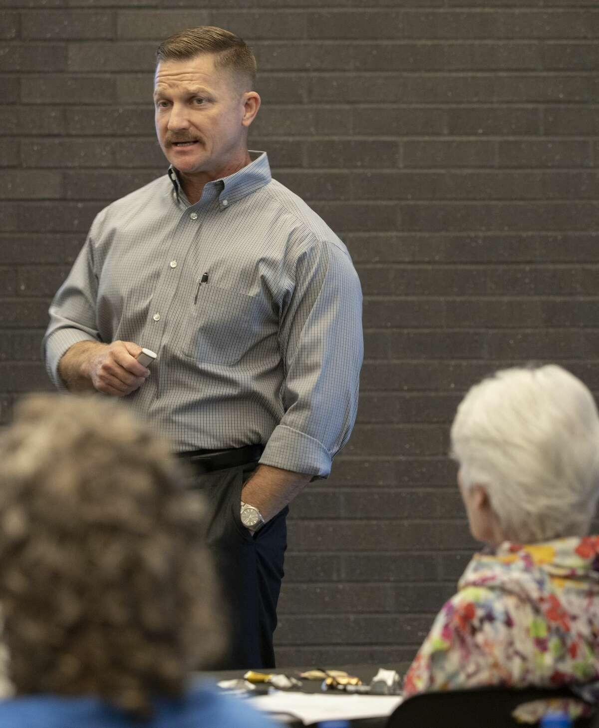 Midland Police Chief Seth Herman talks about the annual budget and projects during the annual city council retreat 07/18/19 at the Blakemore Planetarium. Tim Fischer/Reporter-Telegram