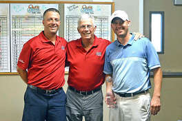 In this 2017 file photo, Corey Choate, right, celebrates his second straight tournament victory with Mike, left, and Larry Suhre.