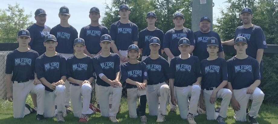 Milford Babe Ruth's 14U state championship team was led by (front row) Owen Bell, Anthony Brassell, Brandon MacDonald, Dean Ross, Jack D'Avignion, Riley Jordan, Jack Aliberti, Braden Tarczali and John Neider; (second row) coach Walter Piechota, Walt Piechota, Mike Cosmas, Joe Gaetano, Cody Dineson, Kian McEnerney, coach Christopher McEnerney and manager John Wezenski. Photo: Contributed Photo / Milford Babe Ruth / Milford Mirror