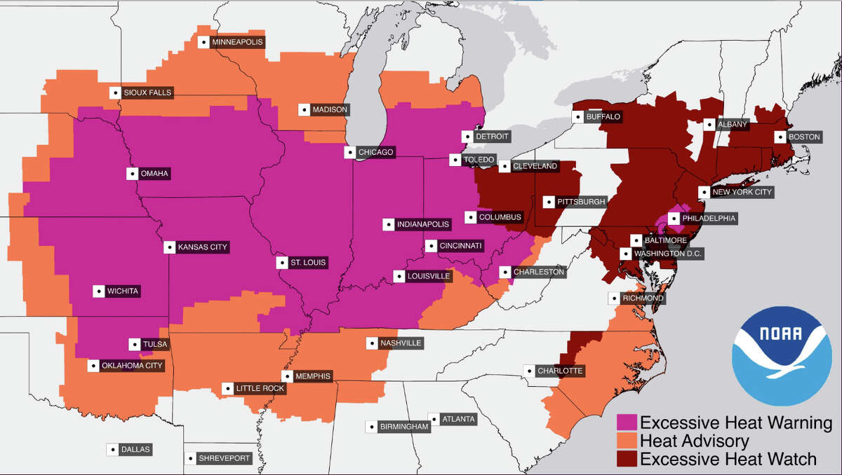 NOAA's heat warnings, advisories and watches cover much of the central and eastern parts of the U.S.